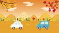 秋の並木道を走る車のアニメーション 秋の風景 67734976