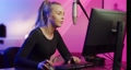 Close-up of Professional E-sport Gamer Girl Streaming and Playing Online Video Game on PC 67753051