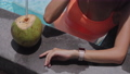 woman is using smartwatch at pool 67784429