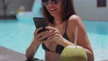 Girl with cell sharing best vacation photos 67784438