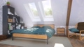 Cozy modern bedroom in attic with double bed 3D 68194771