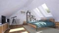 Bright modern bedroom interior in attic room 3D 68194772