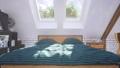 Closeup of double bed in attic bedroom interior 3D 68194774