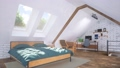 Modern bedroom in attic with bed and home office 68194819