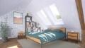 Double bed in modern bedroom interior in attic 3D 68194820