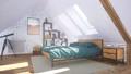 Interior of comfortable modern bedroom in attic 3D 68194821