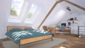 Bright bedroom in attic with bed and home office 68194822