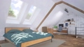 Attic interior with double bed and home studio 3D 68194823