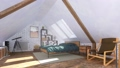 Bachelor interior of cozy modern bedroom on attic 68194824