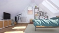 Bright modern bedroom in attic with double bed 3D 68194826