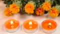 Safflower and candles on wood table 68269695