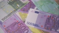 burning euro bills for financial crisis background 68399651