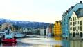 Norway harbor triangular roof Bryggen fjord UNESCO 68659429