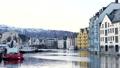 Norway harbor triangular roof Bryggen fjord UNESCO 68659430