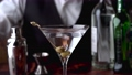 bartender serving martini in glass at bar 68713304