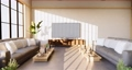 Armchair and tv cabinet on room white wall, minimalist and zen interior.3d rendering 68777549