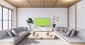 Armchair and tv cabinet on room white wall, minimalist and zen interior.3d rendering 68777551