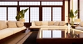Armchair and tv cabinet on room white wall, minimalist and zen interior.3d rendering 68777552