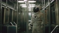 Astronaut Inside of the old non-modernized subway car in USA 68837132