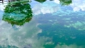 丸池公園の美しいエメラルドグリーンの池に映る白い雲 69032808