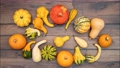 Moving vegetables on kitchen table, harvest background - stop motion animation 69757714