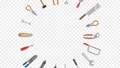 Tools arranged in a circle rotate 69864475