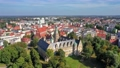 Aerial view of historic Olesnica castle in Lower Silesian Voivodeship, Poland 69977806