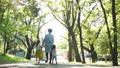 手を繋いで公園の並木道を歩く家族の後ろ姿 70062682