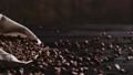Bag with coffee beans falling on table 70866965