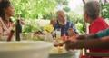 Multi-generation African American family spending time in garden 70977026