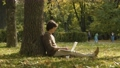 Hipster typing on laptop in the park 71138757