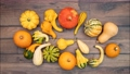 Moving vegetables on kitchen table, harvest background. Stop motion animation 71192073