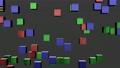 上下左右に移動する赤青緑の立方体のループ映像 71263054