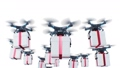 Gift Boxes Delivering by Many Drones Flying in the Clouds. Looped 3d Animation on White Background, Sky and Green Screen. Alpha Mask. Modern Delivery Business Concept. FullHD Full HD 3840x2160. 71366307