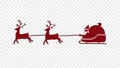 Silhouette video of reindeer and Santa sliding on a sled Channel with alpha 71417619