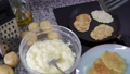 Frying potatoes pancakes at plate and in frying pan at home kitchen 71537743