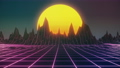 Colorful low poly wireframe sun among mountains parallax 4k looping background 71548717