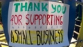 Thank you for supporting a small business - words of gratitude! Colorful banner on nature background. 71624838