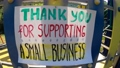 Thank you for supporting a small business - words of gratitude! Colorful banner on nature background. 71624842