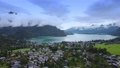 Picturesque aerial view of Lake Wolfgangsee in Austria 71634563
