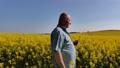 Old farmer in field of rapeseed 71699297