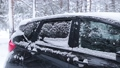 Snowfall in the Forest Against the Background of a Black Car 71700951