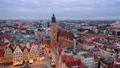 Wroclaw, Poland. Aerial view of St Elizabeth church on sunrise 71768112