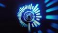 과학 기술의 개념에서 방사형으로 뻗어 추상적 인 파란 광선 71819191