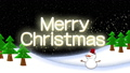 크리스마스 이미지 비행 산타와 눈사람 텍스트가 [Merry Christmas] 71972905