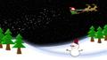크리스마스 이미지 비행 산타와 눈사람 71972906