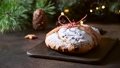 Table decoration with Christmas stollen, and hot holiday drink. Close up. Xmas. 72108590