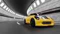 Yellow car running on road in tunnel. Car animation seamless loop. 3D Render. 72288689