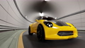 Yellow car running on road in tunnel. Car animation seamless loop. 3D Render. 72288691