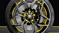 Alloy wheel with modern Brake Disc and Calliper carbon fiber. Animation on road. 3D render. 72288695